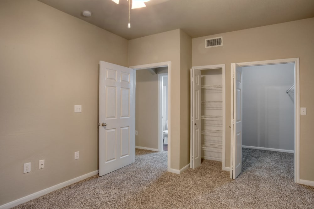Cozy bedroom at Marquis Bandera in San Antonio, Texas