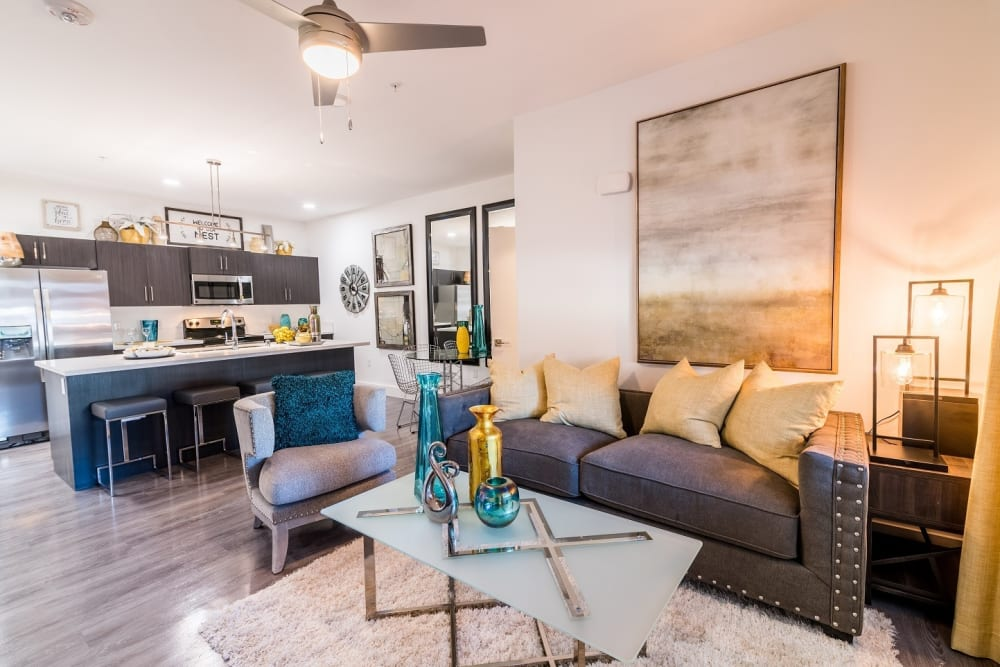 Bright living room at EVO Apartments in Las Vegas, Nevada