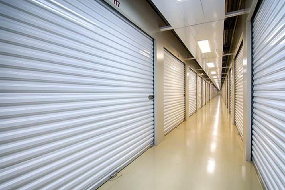 Indoors units hallway at Metro Self Storage in Lawrenceville, Georgia