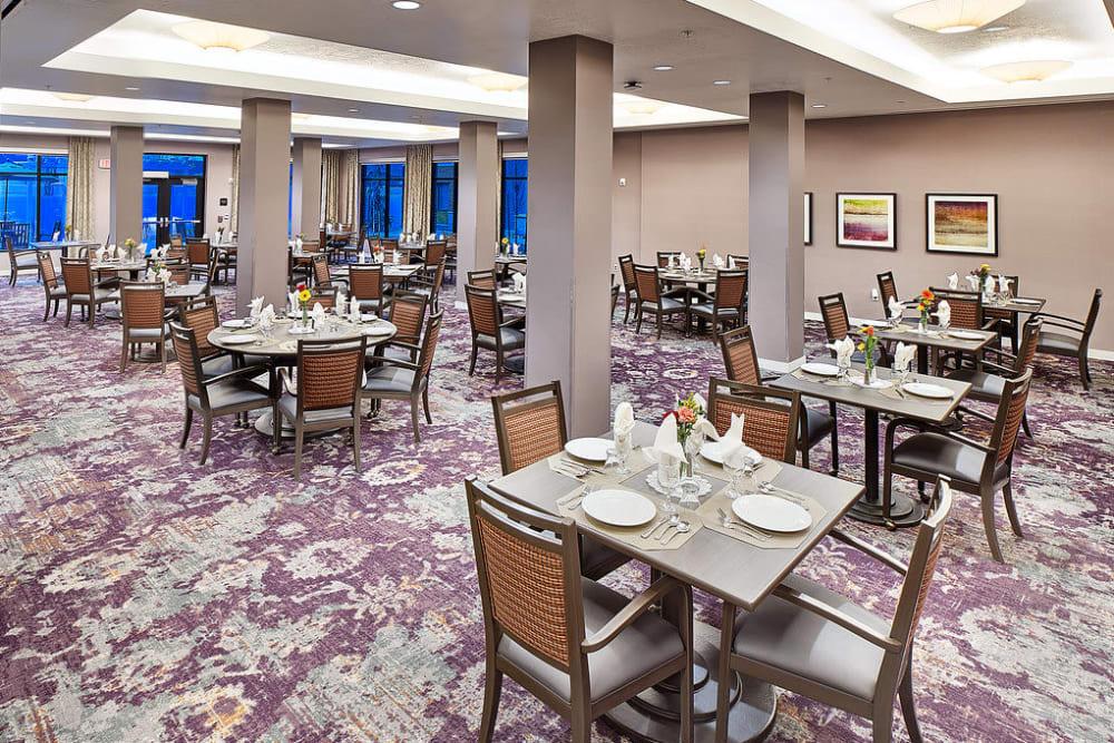 Large resident dining room at Anthology of South Jordan in South Jordan, Utah