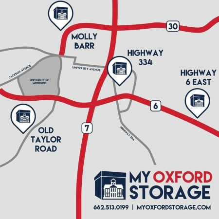 Map of our locations at My Oxford Storage