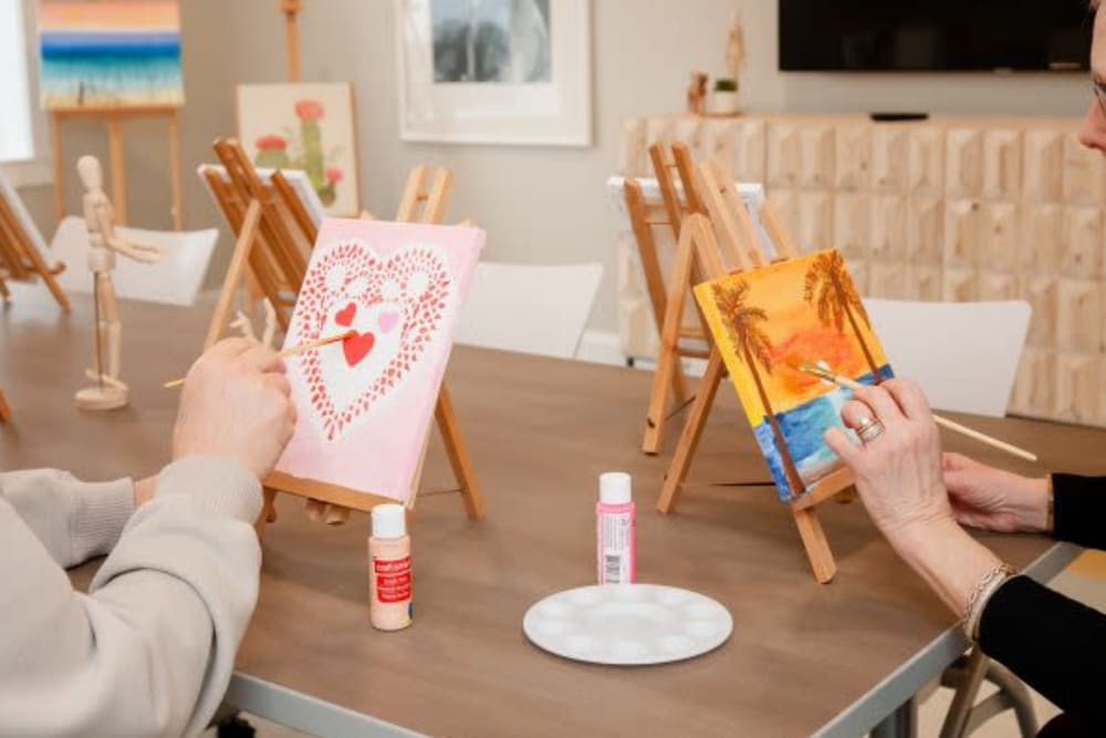 Residents learning to paint at Mercer Hill at Doylestown in Doylestown, Pennsylvania