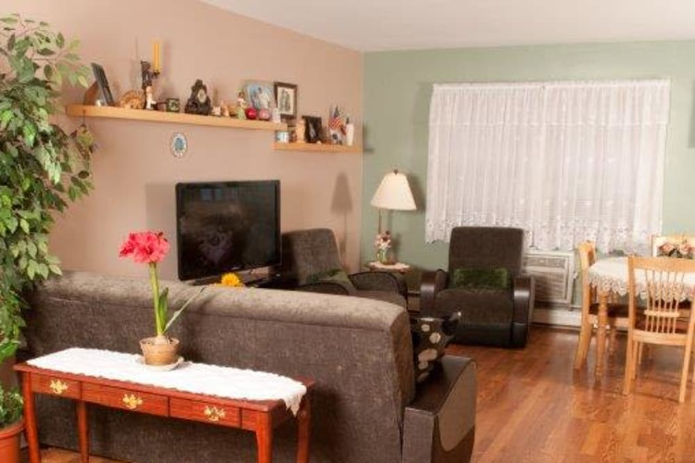 Living room with TV at Lynn York Apartments in Irvington, New Jersey