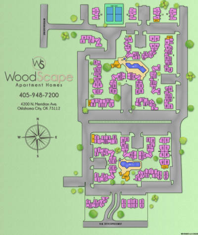 Site map for Woodscape Apartments in Oklahoma City, Oklahoma