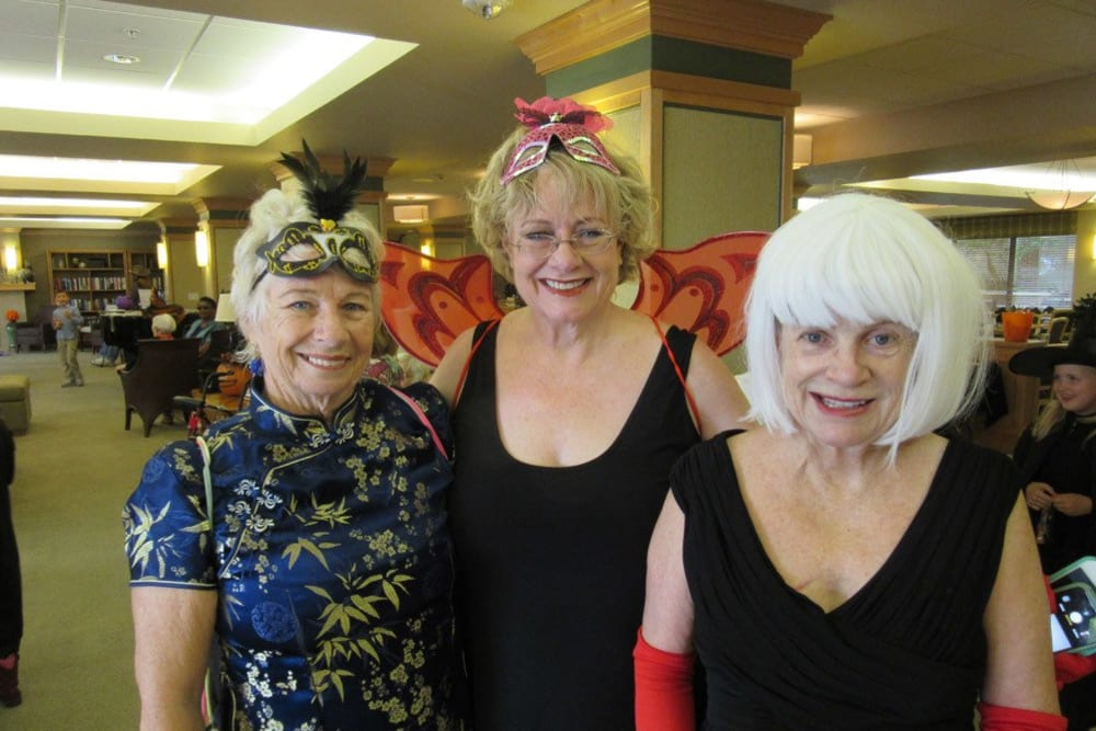 Residents dressed up for an event at Merrill Gardens at Bankers Hill in San Diego, California.
