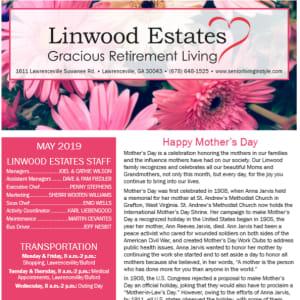 May Linwood Estates Gracious Retirement Living newsletter