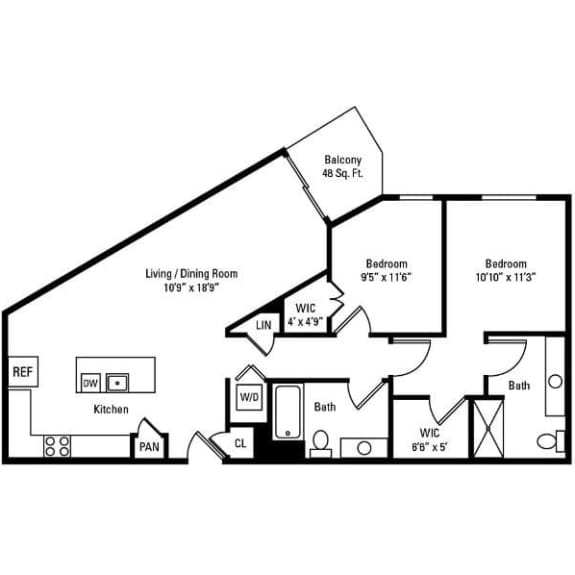 2 Bedroom, 2 Bath 1,103 sq. ft. apartments for rent at City Centre in Ithaca, NY
