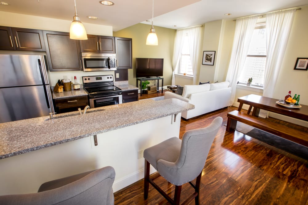 Spacious kitchen at The Reserve at 4th and Race in Cincinnati, Ohio