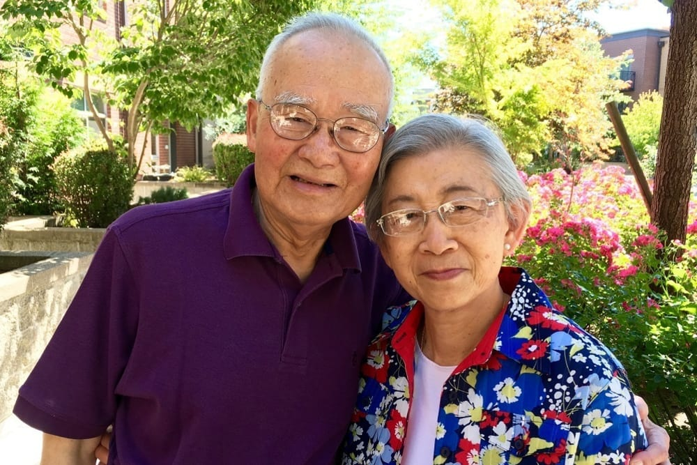 A resident couple at Merrill Gardens at The University in Seattle, Washington.