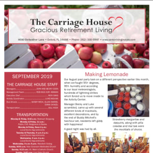 September The Carriage House Gracious Retirement Living Newsletter