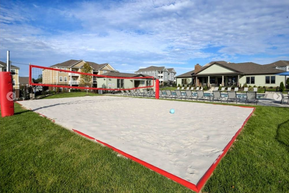 Onsite sand volleyball court at The Retreat at Arden Village Apartments in Columbia, Tennessee