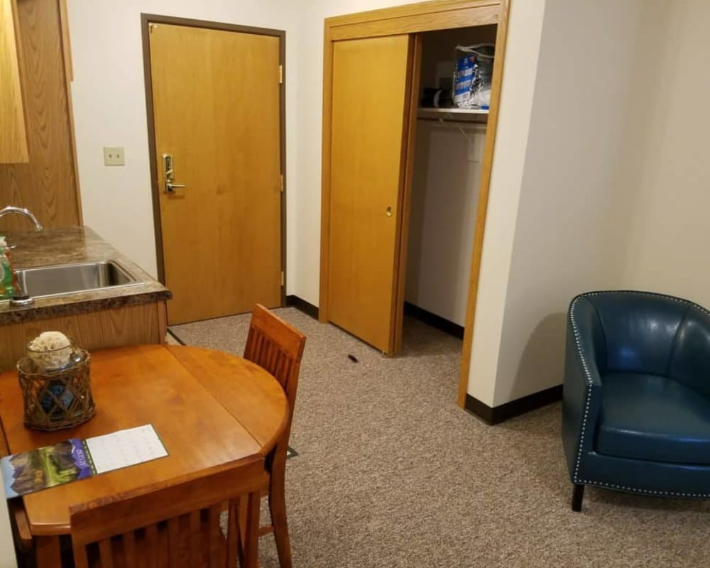 Cozy memory care studio at Manning Senior Living in Manning, Iowa.