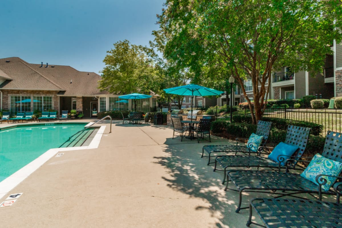 Enclosed pool area with lounge chairs, umbrellas, and BBQs at Marquis at Carmel Commons in Charlotte, North Carolina