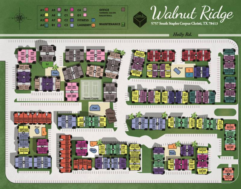Site map for Walnut Ridge Apartments in Corpus Christi, Texas