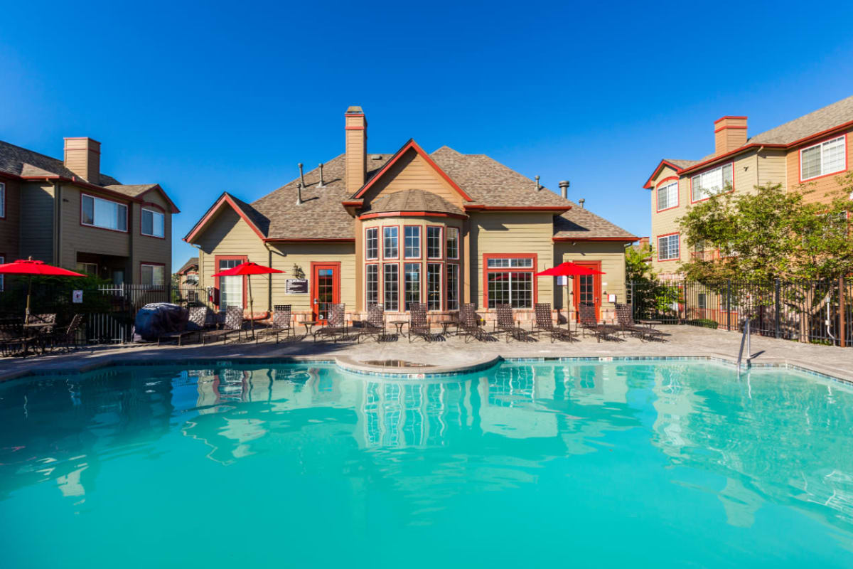 Sparkling swimming pool at The Links at Plum Creek in Castle Rock, Colorado