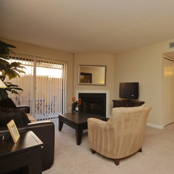 Beautiful living room and dining area at Pear Tree apartments