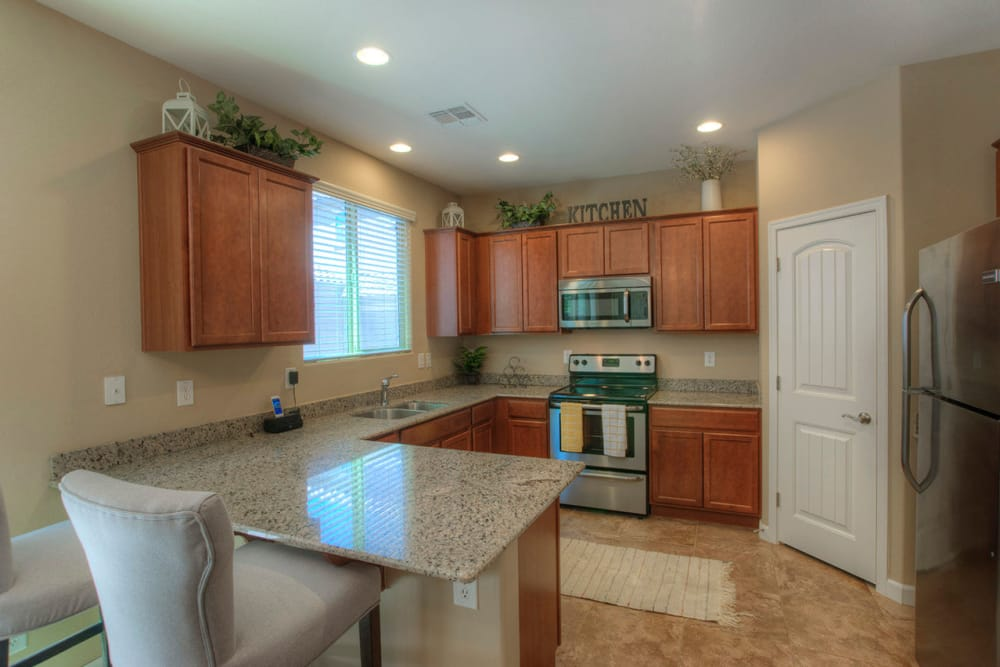 Modern kitchen in model home at BB Living at Higley Park in Gilbert, Arizona