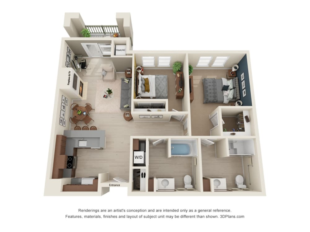 Luxurious two bedroom floor plan at The Alexander in Bend, Oregon