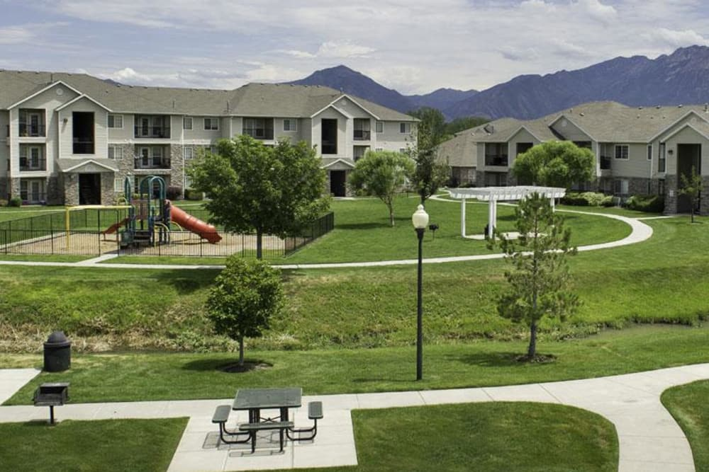 Outside view of Fairstone at Riverview Apartments in Taylorsville, Utah