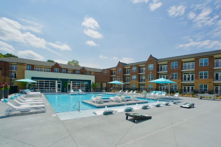 Swimming pool and exterior of Encore North in Greensboro, North Carolina