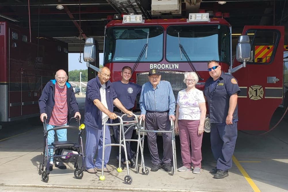 Residents visiting the local firehouse at Brooklyn Pointe in Brooklyn, Ohio