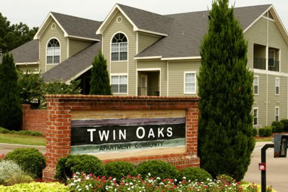 Apartment signage at Twin Oaks in Hattiesburg, Mississippi