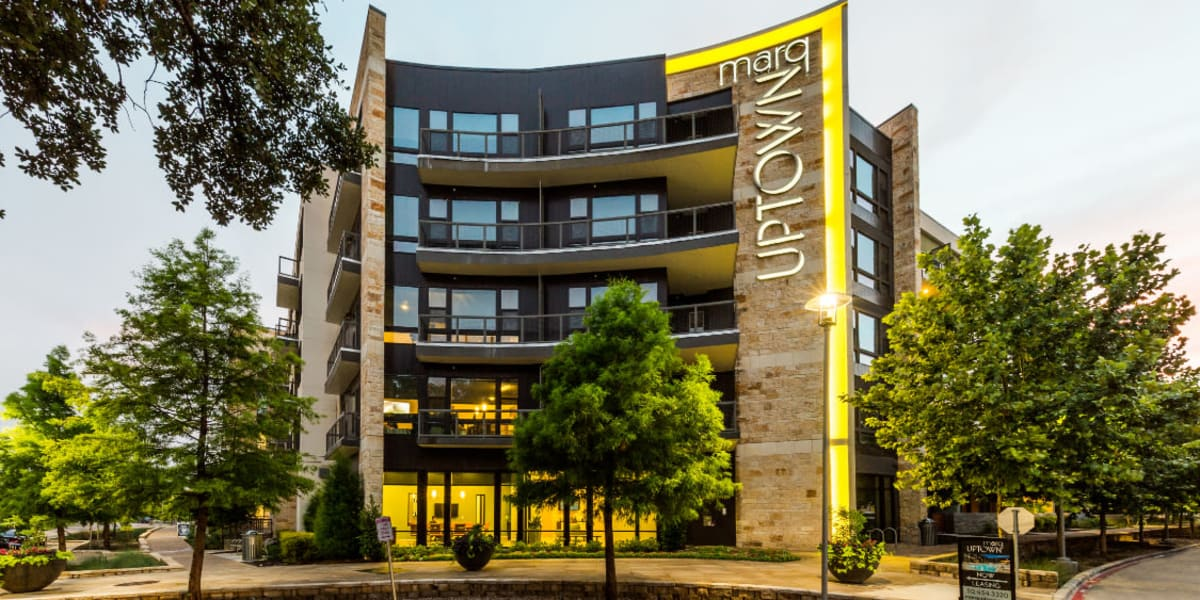 Main entrance street view to Marq Uptown in Austin, Texas