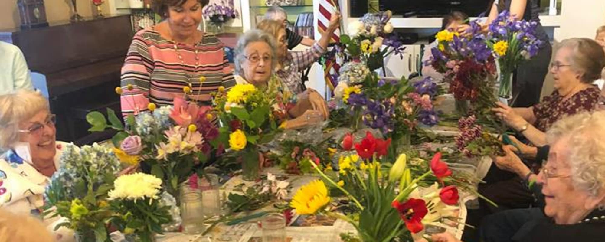 Making Bouquets at Huntington Terrace in Huntington Beach, California