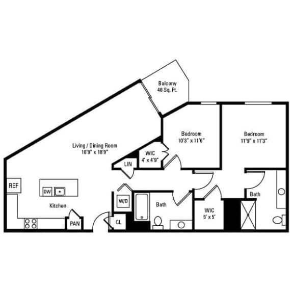 2 Bedroom, 2 Bath 1,135 sq. ft. apartments for rent at City Centre in Ithaca, NY