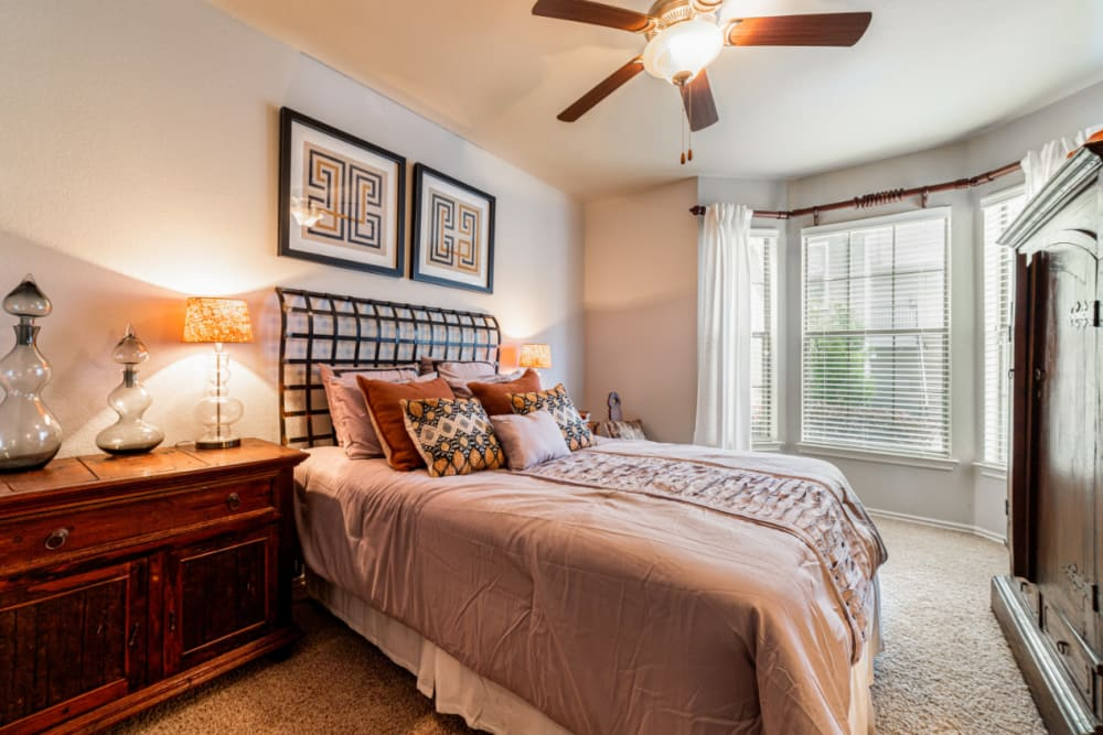 Cozy bedroom at Marquis at Lantana in Flower Mound, Texas