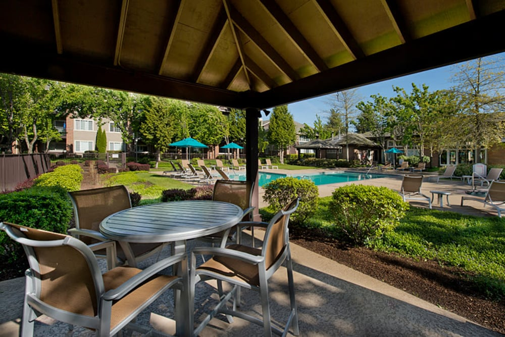 Lounge chairs under the cabana with a flat-screen TV at Cortland Village Apartment Homes in Hillsboro, Oregon