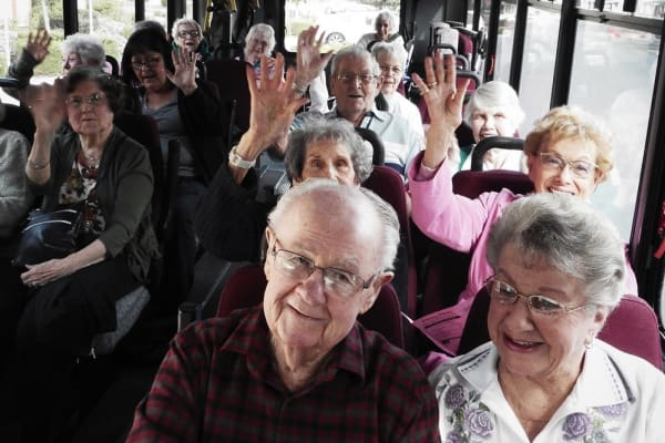 Residents on a bus going to an event near Merrill Gardens at Gilroy in Gilroy, California.