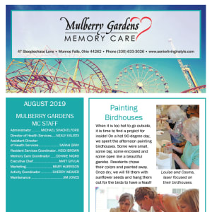 August Mulberry Gardens Memory Care Newsletter