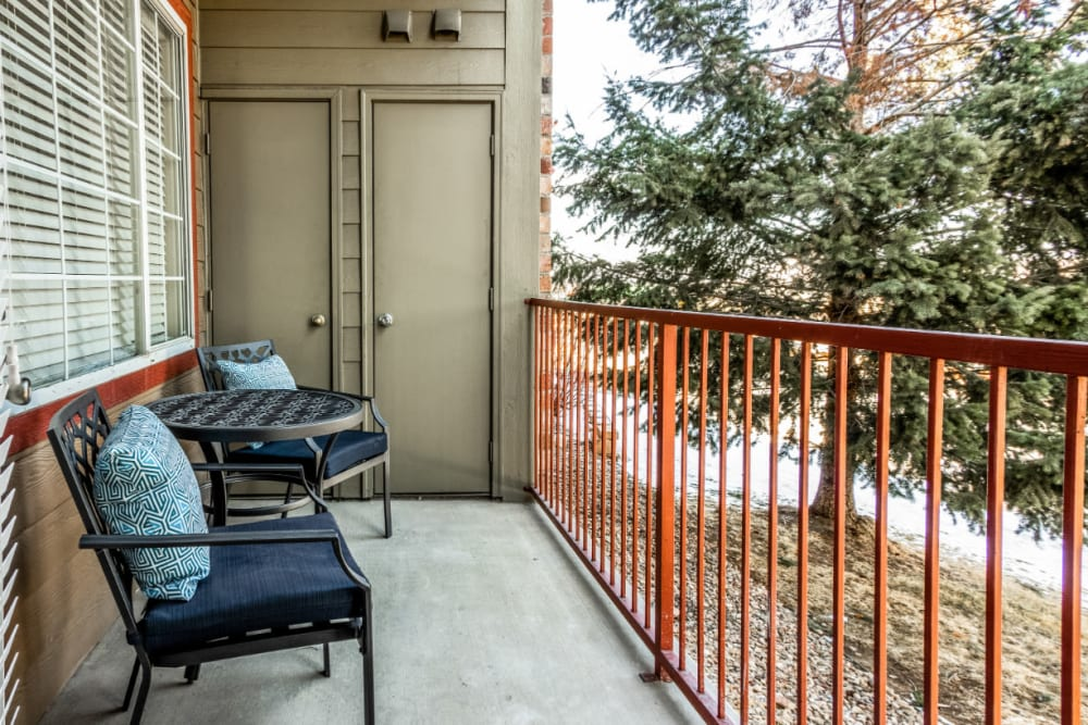 Private patio with beautiful golf course and mountain views at The Links at Plum Creek in Castle Rock, Colorado