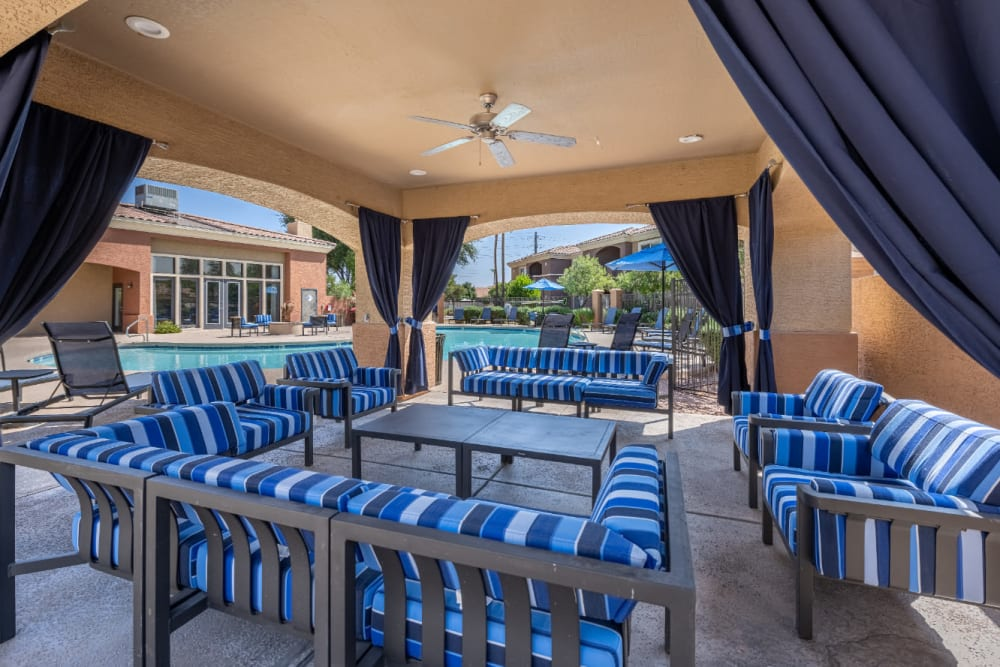 Gazebo with couches and cushioned chairs at Alante at the Islands in Chandler, Arizona