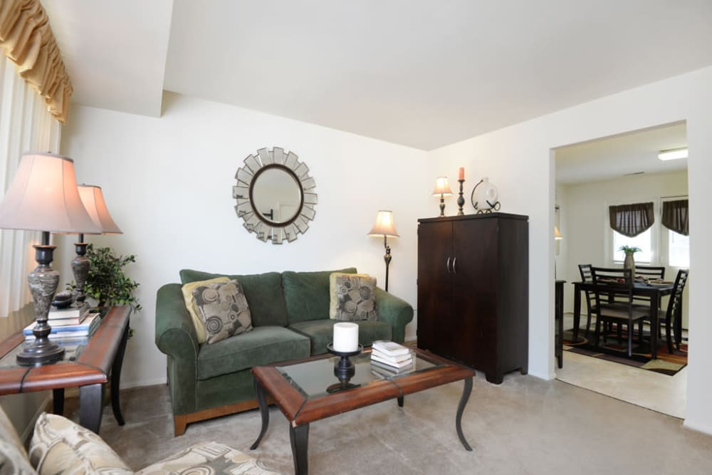 Spacious living room at The Orchards at Severn in Severn, Maryland