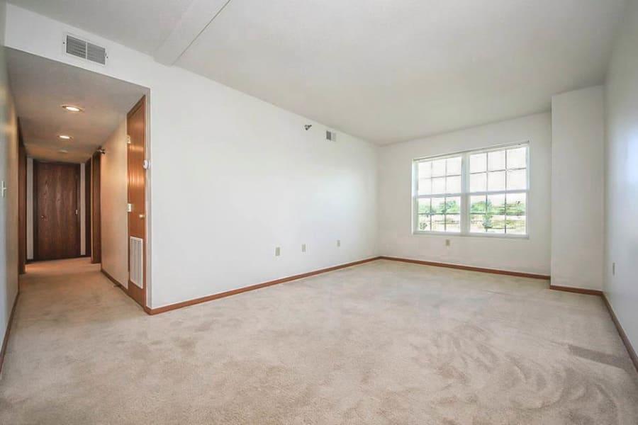 Bright living room at Regency Heights in Iowa City, Iowa