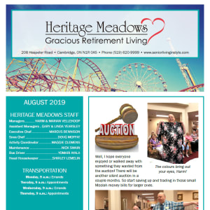 August Heritage Meadows Gracious Retirement Living newsletter