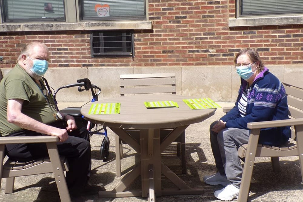 Residents playing bingo outside at Victory Centre of Joliet
