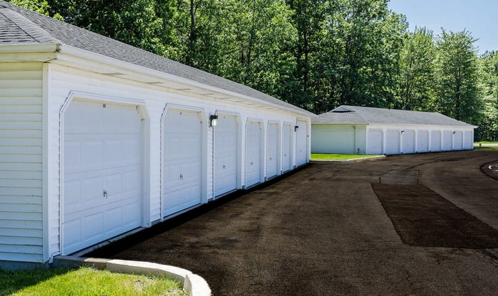 Exterior garages at Maplewood Estates Apartments in Hamburg, New York