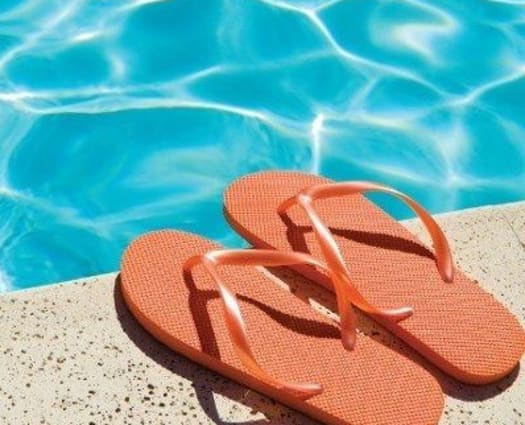 Flip-flops poolside at Hillcrest Village in Niskayuna, New York