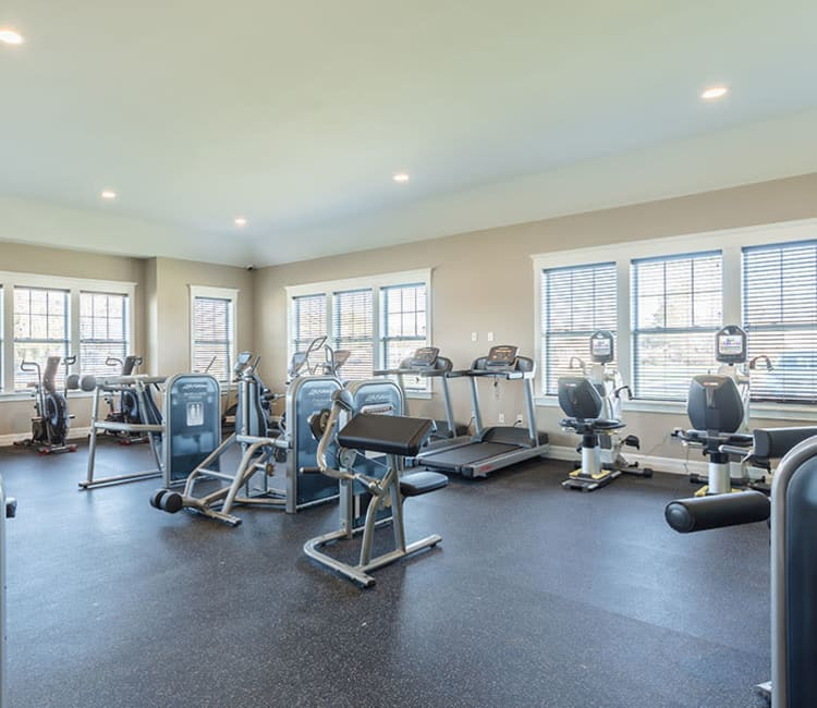 Fitness center at Orchard View Senior Apartments in Rochester, New York