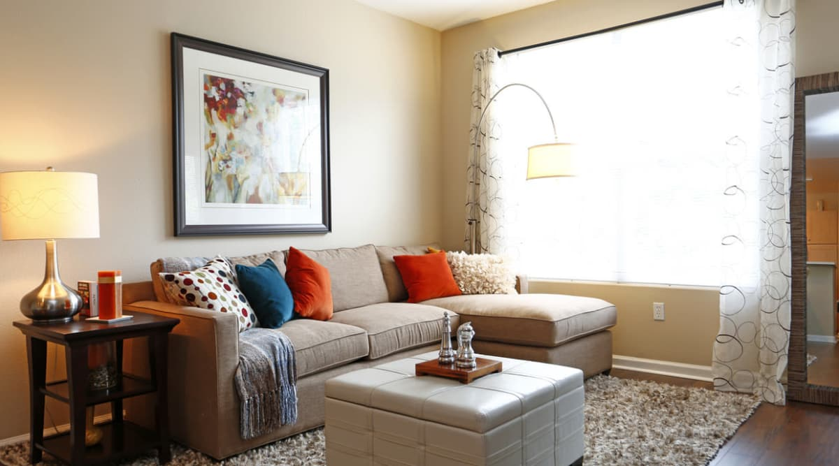 Spacious living room at apartments in Park Central in Concord, California