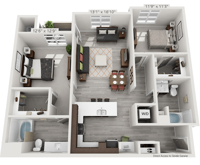 View 2 Bedroom Floor Plans at Solana Lucent Station   Apartments in Highlands Ranch, Colorado