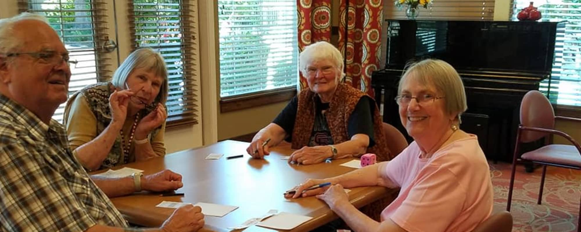 Residents playing games at Oakmont Gardens in Santa Rosa, California
