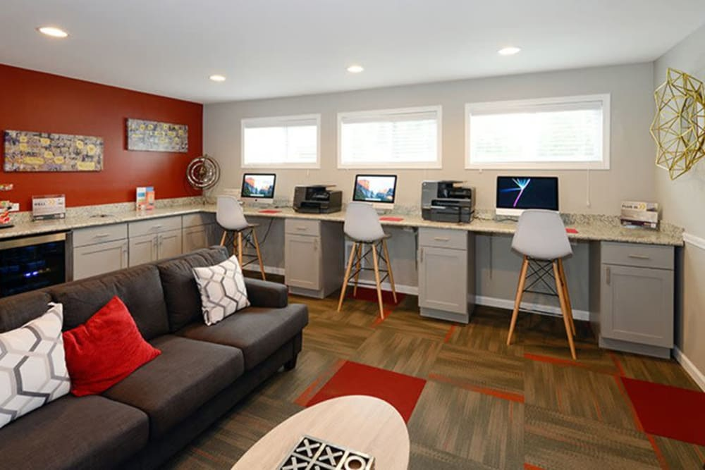 Business work stations at Terra Apartment Homes in Federal Way, Washington