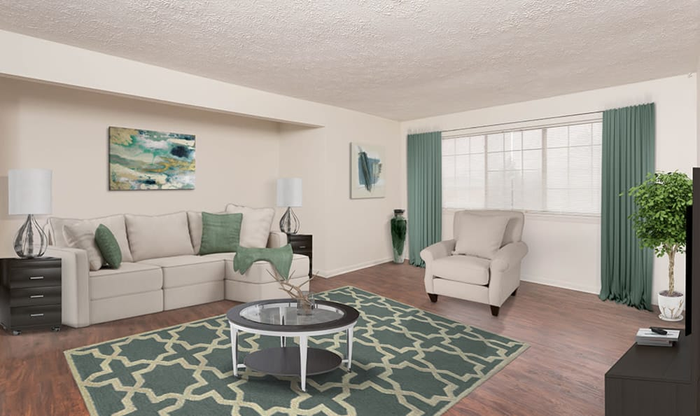 Living Room at Waverlywood Apartments and Townhomes home in Webster, NY
