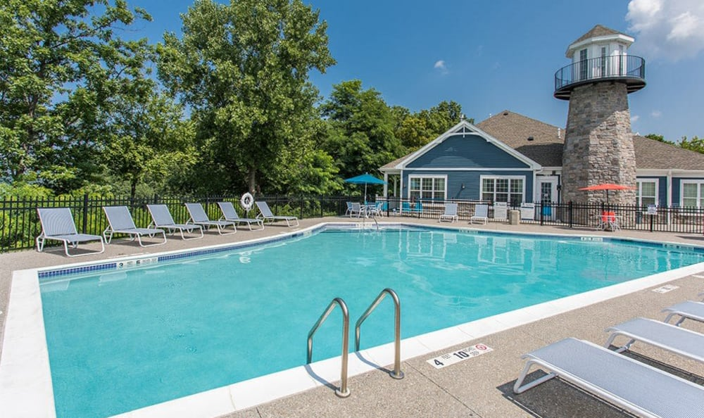 Sparkling pool at Waters Edge Apartments in Webster, New York