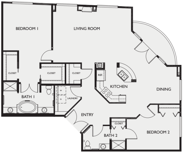 Two bedroom II floor plans at The Bellettini in Bellevue, Washington