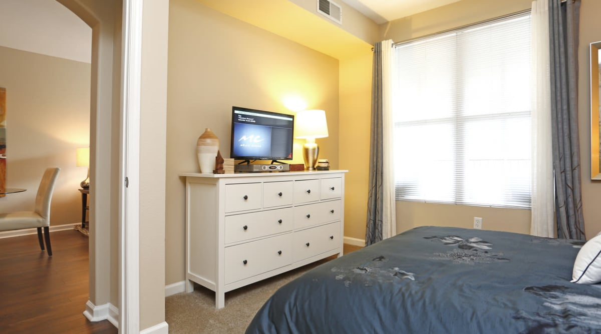 Well-decorated bedroom at Park Central in Concord, California